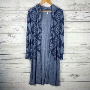 Poof Blue Aztec Print Hooded Long Duster Sweater M